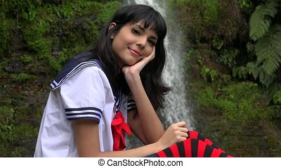 Smiling Cosplay Female Teen
