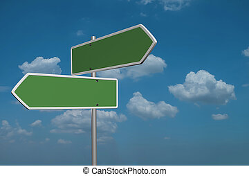 Blank Green Road Sign on sky background