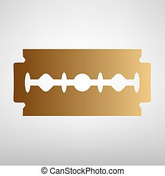 Razor blade sign Flat style icon with golden gradient