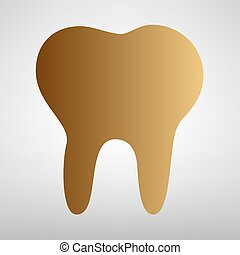 Tooth sign. Flat style icon with golden gradient