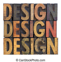 design - vintage wood typography - the word design (three...