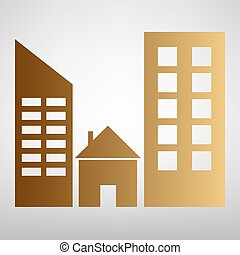 Real estate sign. Flat style icon with golden gradient