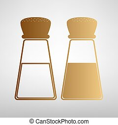 Salt and pepper sign. Flat style icon with golden gradient