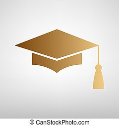 Mortar Board or Graduation Cap, Education symbol. Flat style...
