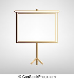 Blank Projection screen. Flat style icon with golden...