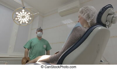 Dentist chair move down with patient HD