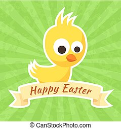 Happy Easter - Easter greeting with small yellow chick and...