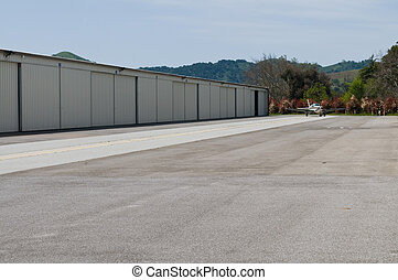 Hangers - Row of airplane hangers, South County Airport, San...