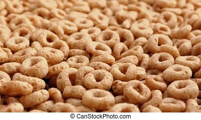 Cereal Hoops Rotating Closeup - Delicious hoop shaped cereal...