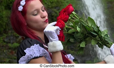 Pretty Young Cosplay Teen Girl With Red Bouquet Of Roses