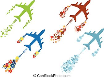 four seasons and airoplane - set of vector concept...