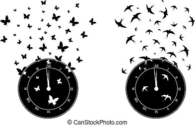 time and freedom - set of vector illustrations with clock,...