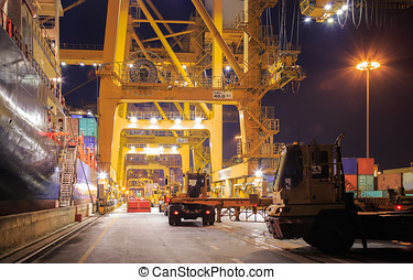 Cargo Import Goods - Loading Goods Containers From Ship To...