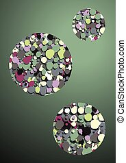green background abstract bubbles
