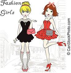 Moda, niñas, Ilustración