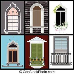 Windows and door vector set, colors design,