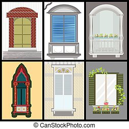 Windows and door vector set, colors design,