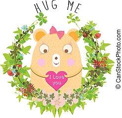 Cute bear card with flowers kids girl t shirt design