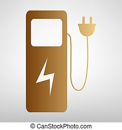 Electric car charging station sign. Flat style icon with...