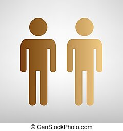Gay family sign Flat style icon with golden gradient
