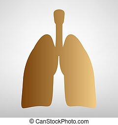 Human organs. Lungs sign. Flat style icon with golden...