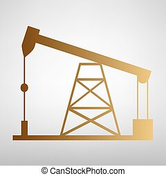 Oil drilling rig sign. Flat style icon with golden gradient