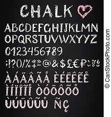 Chalk latin multilingual alphabet. Diacritics, special...