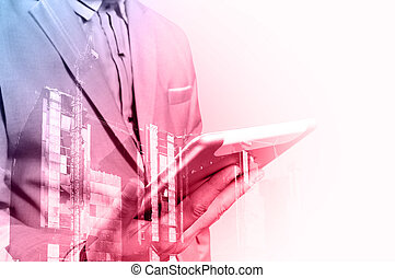 Double exposure of Architect or Business Man use Mobile...