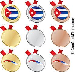 cuba vector flag in medals