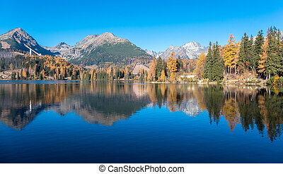 Water reflection at tarn Strbske pleso, Slovakia - Water...