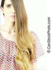 Woman with amazing long beautiful hair portrait isolated