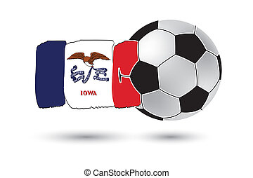Soccer ball and Iowa State Flag with colored hand drawn...