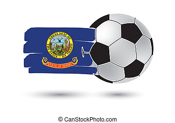 Soccer ball and Idaho State Flag with colored hand drawn...