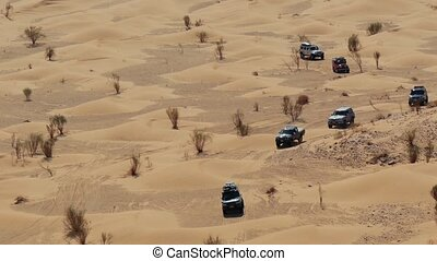 driving off-road car in the sahara - sahara desert mood, off...