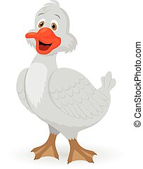 Cute little cartoon goose. Beautiful vector illustration.