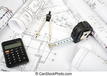 plan, Blåkopior, arkitektur,  Rolls
