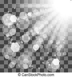 Transparent Sun Light on Checkered Background. Shiny...