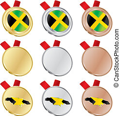 jamaica vector flag in medals