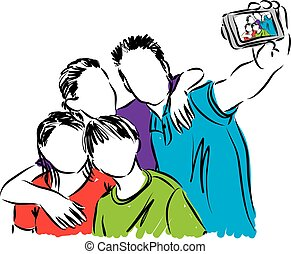 family taking a photo illustration