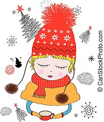 Winter cute little girl vector illustration