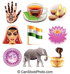 India icons vector set - India icons detailed photo...