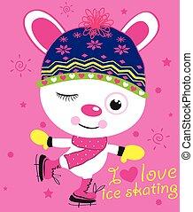 Illustration of cute animal on ice skates
