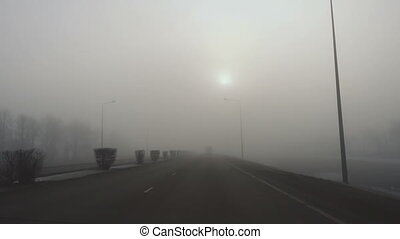 Thick fog on the highway Astana-Karaganda, in the suburbs of...