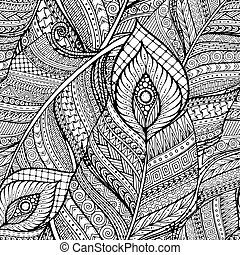 Seamless ethnic doodle black and white background pattern...