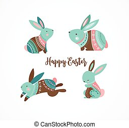 Easter cute patterned bunny