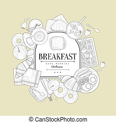 Breakfast Food Vintage Sketch - Breakfast Food Vintage...