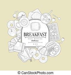 Breakfast Food Vintage Sketch
