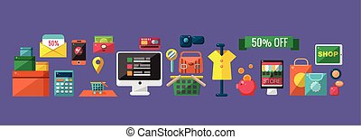 Shopping Related Icons Set