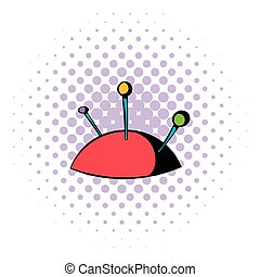 Pincushion with pins icon, comics style - Pincushion with...