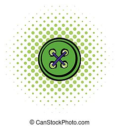 Sewing button icon, comics style - Sewing button icon in...